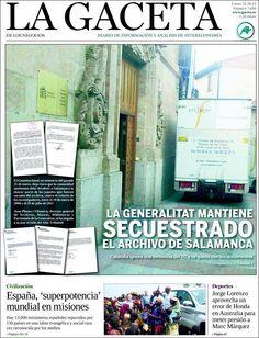 Los Titulares y Portadas de Noticias Destacadas Españolas del 21 de Octubre de 2013 del Diario La Gaceta ¿Que le pareció esta Portada de este Diario Español?
