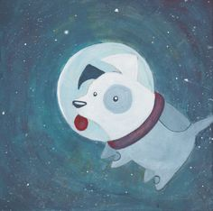 Original Painting  Space Dog by corlista on Etsy.