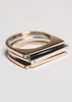 { Set of Three - 14K Rose Gold, 14K Yellow Gold & Sterling Silver - Stacking Ring With Diamonds }