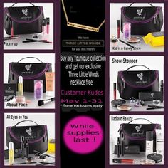 "https://www.youniqueproducts.com/StaceyKClark Last Chance to get in on this months customer kudos!! Order any collection and get an AMAZING makeup bag for FREE AND the ""Three Little Words"" necklace for free too!! This offer expires at midnight on May 31st. 2015!!   Want to sell this AMAZING makeup click here: https://www.youniqueproducts.com/StaceyKClark/business/presenterinfo#.VWPHZ_lViko  Check out my FB website too! https://www.facebook.com/3dmascarabystacey"