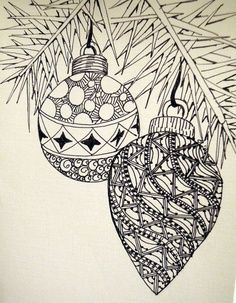 Hand-drawn Christmas Ornaments - Zentangle style