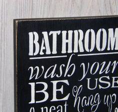 Bathroom Rules Wash Your Hands Sign Bathroom Sign Bathroom