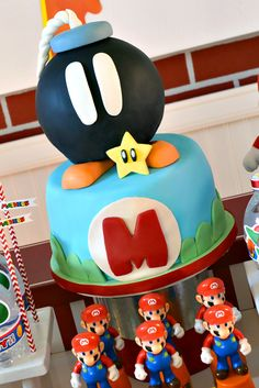 Cake at a Super Mario Bros Party