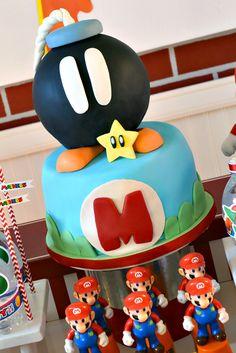 Cake at a Super Mario Bros Party