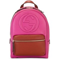 Gucci Soho Backpack ($1,305) ❤ liked on Polyvore featuring bags, backpacks, pink, leather backpack, pink bag, leather bags, genuine leather bags and leather rucksack