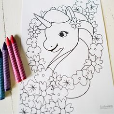 Unicorn Birthday Party Coloring-In Activity Page by sunshineparties.com #UnicornParty #UnicornActivity