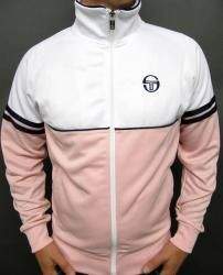 Sergio Tacchini - Orion Track Top in White/Pink/Navy Classic Clothes, Classic Outfits, Cool Outfits, Grandad Collar Shirt, Retro Sportswear, Mens Outdoor Jackets, Sergio Tacchini, Football Casuals, African Clothing For Men