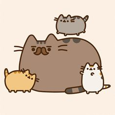 Biscuit, together with Sunflower are the parents of Pusheen. He has the same pattern of Pusheen, although sporting dark brown fur with a darker brown moustache and markings/stripes. Pusheen's Dad likes to fish and cuddle with Pusheen, Stormy, and Pip. Gif Pusheen, Pusheen Love, Pusheen Stuff, Kawaii Drawings, Cute Drawings, I Love Cats, Crazy Cats, Pusheen Stormy, Nyan Cat