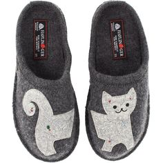 Haflinger Lizzy (Grey) Women's Slippers (£55) ❤ liked on Polyvore featuring shoes and slippers