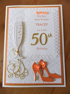 handmade birthday cards for women 50th Birthday Cards For Women, Birthday Verses For Cards, Special Birthday Cards, 60th Birthday Cards, Happy 50th Birthday, Handmade Birthday Cards, Greeting Cards Handmade, Pretty Cards, Creative Cards