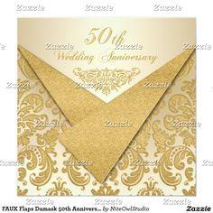 FAUX Flaps Damask 50th Anniversary Invitation