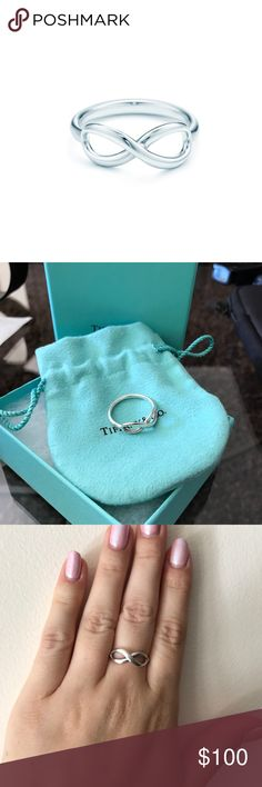 Tiffany Infinity Ring DESCRIPTION & DETAILS  Tiffany Infinity is a powerful symbol of continuous connection, energy and vitality. Graceful yet modern in design, the free-flowing curves of this ring are endlessly elegant. Sterling silver Size 8 Tiffany & Co. Jewelry Rings