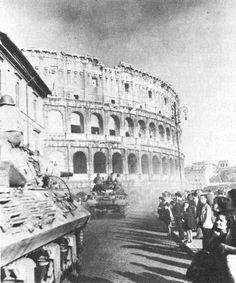 American tank destroyers at the Colosseum Rome Italy June 1944.