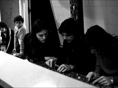behind the scenes in the studio in France, while recording 'Obscured by Clouds' in 1972.