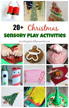 These Christmas sensory play activities involve the 5 senses for toddlers and preschoolers! From Teaching 2 and 3 Year Olds