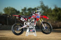 Wrenching for young amateur ripper Carson Mumford, Christien Ducharme keeps the wheels turning on this super-trick AMSOIL Honda Mumford, Dirtbikes, Motocross, Offroad, Honda, Adventure, Vehicles, Turning, Toms