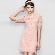Exquisite O Neck Half Sleeve Sheath Lace Dresses 65- in white, too