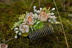 Blumen Haarkamm, Hochzeit Haarkamm silk flowers, dried and stabilized flowers size 16cm