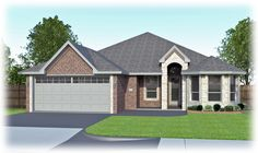 Erminia - Stone Elevation B. Uses Uses Permian Homes color/brick scheme D7 and South Texas Blend – Acme Natural Stone.