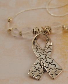 Big Silver Puzzle Piece Printed Autism Awareness Ribbon Necklace with Clear Crystals and Rhinestone Spacers - Autism or Asperger's on Etsy, $24.00