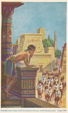 Joseph sees his brothers arriving in Egypt.