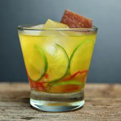 Barbacoa     3 slices Bell pepper     3 Lime wedges     .5 tsp Pureed chipotle pepper     .5 oz lemon juice     .5 oz Ginger Syrup*     .75 oz Agave nectar     2 oz Mezcal  Garnish: Beef jerky