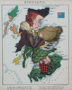 Scotland Satire, Vintage Printable, Caricatures, Scotland Map, Scotland Funny, Pictorial Maps, Old Maps, Vintage Maps, Antique Maps