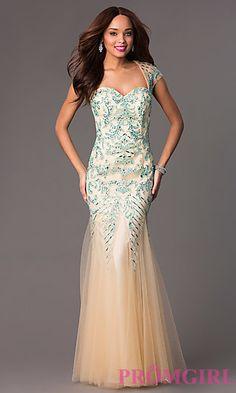 Floor Length Cap Sleeve Sweetheart Dress at PromGirl.com