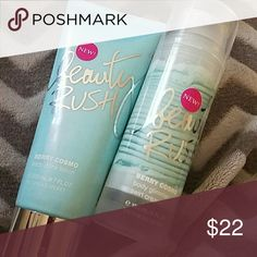 Berry cosmo Beauty Rush Lotion bundle *FLASH SALE* 2 berry cosmo lotions- 1 body drink lotion and 1 body glimmer swirl cream by beauty rush for Victoria Secret in scent berry cosmo. Makeup