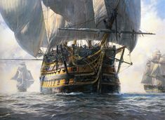 """Geoff Hunt Print - """"Victory and Squadron in Light Airs"""" A tribute to the Royal Navy's most historic ship, still in commission, and preserved at Portsmouth. Masterly in detail as it is grand in concept, the painting marks Geoff Hunt as one of the most outstanding marine painters of his generation. Victory is shown during the great blockade which preceded Trafalgar carrying an enormous spread of sail in response to the """"light airs.""""   -- on ScrimshawGallery.com #GeoffHunt #Nelson #Navy"""