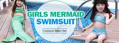 Girl Little Mermaid Tail Bikini Set Swimmable Swimming Princess Costume Swimsuit at Banggood