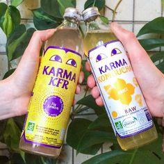 Jeuj!! 2 vette nieuwe superhealthy drankjes! Karma Kombucha (gefermenteerde groene thee met gember) & Karma KFR (gefermenteerd sprankelend drankje gemaakt van citroen en gedroogde vijg). 100% biologisch, raw, vegan, nauwelijks suiker, weinig calorieën en bombol enzymen en probiotica! Goed voor je spijsvertering dus... #yummyforyourtummy #karmakfr #kombucha #lowsugar #lowcalorie #strijps