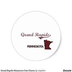 Grand Rapids Minnesota City Classic Classic Round Sticker