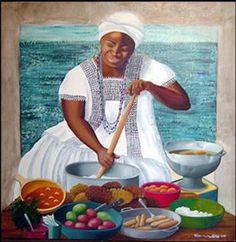 Prainting of a Brazilian Tia preparing acaraje or simply, for a feast Caribbean Culture, Caribbean Art, African American Artwork, Afrique Art, Spiritual Images, Black Art Pictures, Black Artwork, Black Women Art, African Diaspora