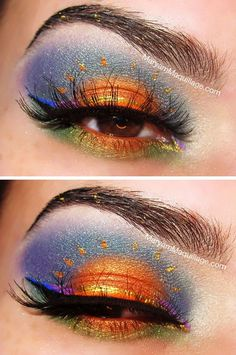 Stunning makeup idea - Featuring a beautiful scenery an closed eye completes the sun. Creative design!
