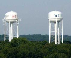 These Hot and Cold Water Towers, In St. Clair Missouri are just a few miles from where I live.  They are along old Route 66. They can also be seen from I-44.    Franklin Co - MO