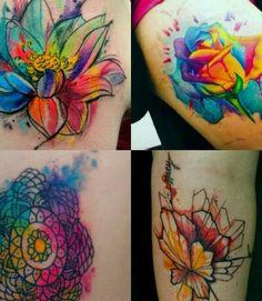 I do not like water color tattoos but I love tye dye roses