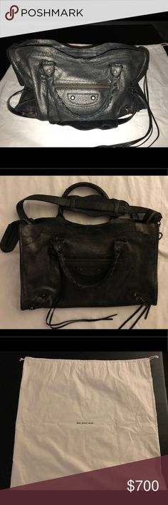 Authentic Balenciaga City Bag Authentic Balenciaga City Bag for sale.  Metallic black suede.  I have the original dust bag as well at the receipt and authenticity tags.  Good condition. Balenciaga Bags Shoulder Bags