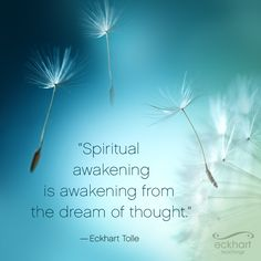 """Spiritual awakening is the awakening from the dream of thought."" - Eckhart Tolle #PresentMomentReminder For more visit: http://bit.ly/EckhartPMR"
