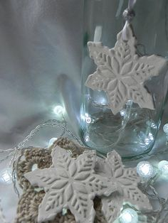 White Snowflake Ornaments. Handmade & Pretty! Handmade with Heart from   Marley & Lockyer on Etsy.