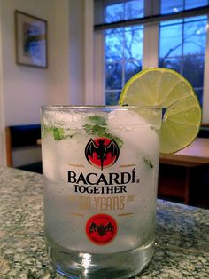 The classic Mojito. A staple of every good bartender's repertoire.   - 2 oz. BACARDI Superior  - A handful of mint leaves muddled with a pinch of brown sugar  - Fresh lime juice  - Soda water to fill a glass