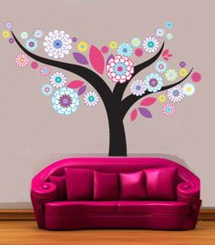 Kids tree vinyl wall decal Floral with leaves great for any nursery or girls room via Etsy