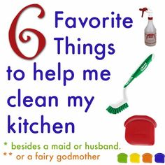 6 favorite things to clean my kitchen with.  If anyone knows where to buy a Fairy Godmother, I'd love to add her to my list. :)