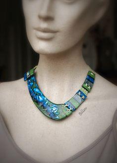 Collier ras de cou vert et bleu sans métal : Collier par bellou