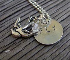 Hand Stamped Sterling silver pendant fly with bird by @beadsoul  $24.00