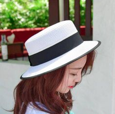 Black and white color block straw hat for ladies UV summer boater hat 395c5b659b55