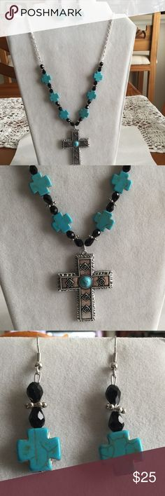"""Faux turquoise cross and earrings set Glass and metal beads.  Handcrafted by me. Approx 28"""" long Jewelry Necklaces"""