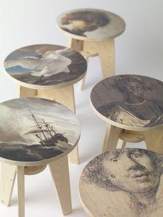 plywood print stools by piet hein eek (via ChellisWilson at tumblr 100529212922)