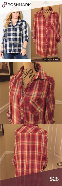 🎉✨HOST PICK✨🎉 Avenue Plaid Top This is an Avenue pink plaid top, size 18/20. It is a button up blouse, has one pocket on chest, sleeves can be worn buttoned up as show in pictures or can be worn down. Hi-low style, very nice quality & it is in great condition. Same style as model, not exact same Blouse. ✨💜HOST PICK 1/21✨💜 Avenue Tops Button Down Shirts