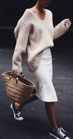 oversized jumper. midi skirt. all stars. converse. #streetstyle